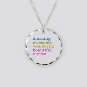 Amazing Mom Necklace Circle Charm