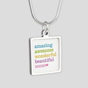Amazing Mom Silver Square Necklace