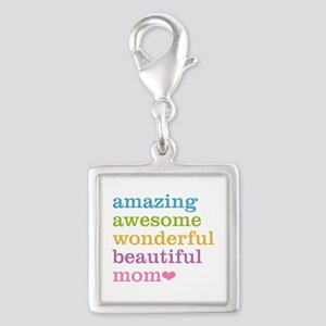Amazing Mom Silver Square Charm