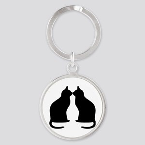 Black cats silhouette Round Keychain