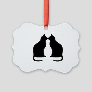 Black cats silhouette Picture Ornament