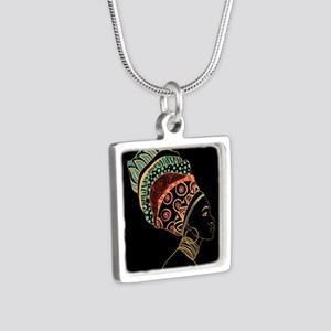 African Woman Silver Square Necklace