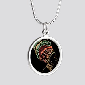 African Woman Silver Round Necklace