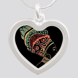 African Woman Silver Heart Necklace