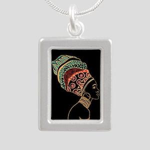 African Woman Silver Portrait Necklace