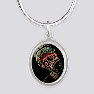 African Woman Silver Oval Necklace