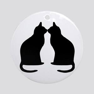 Black Cats Silhouette Ornament (round)