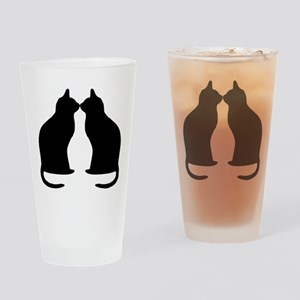 Black cats silhouette Drinking Glass