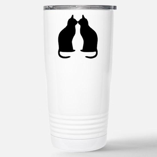 Black cats silhouette Travel Mug