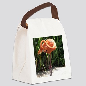 Flamingo Scratching Canvas Lunch Bag