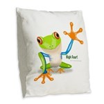 Freddie Frog Burlap Throw Pillow