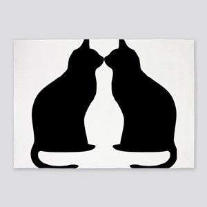 Black cats silhouette 5'x7'Area Rug