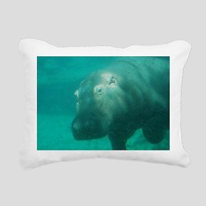 Hippo Under the Water Rectangular Canvas Pillow