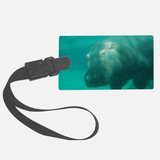 Hippo Under the Water Luggage Tag