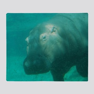 Hippo Under the Water Throw Blanket