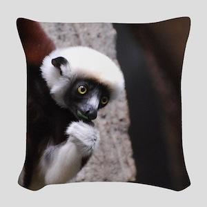 Adorable Safika Lemur Woven Throw Pillow