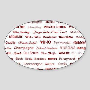 WINE WORDS Sticker (Oval)