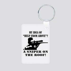 A Sniper On The Roof Aluminum Photo Keychain