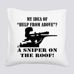 A Sniper On The Roof Square Canvas Pillow