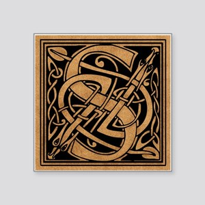 "Celtic Monogram S Square Sticker 3"" x 3"""
