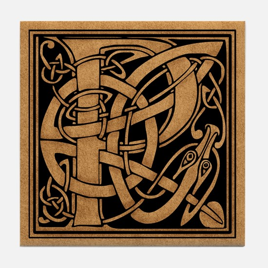 Celtic Monogram P Tile Coaster