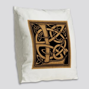 Celtic Monogram L Burlap Throw Pillow
