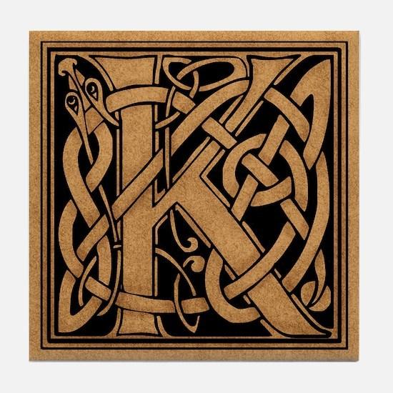 Celtic Monogram K Tile Coaster