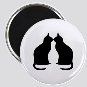 Black cats silhouette Magnet
