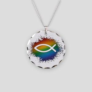 LGBT Christian Fish Necklace Circle Charm