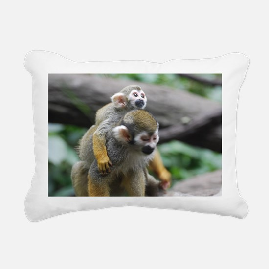 Pair of Squirrel Monkeys Rectangular Canvas Pillow