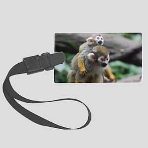 Pair of Squirrel Monkeys Large Luggage Tag