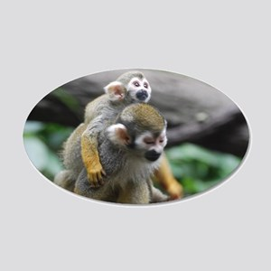 Pair of Squirrel Monkeys 20x12 Oval Wall Decal