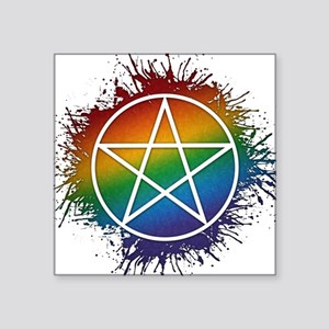 "LGBT Pagan Pentacle Square Sticker 3"" x 3"""