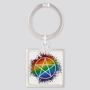 LGBT Pagan Pentacle Square Keychain