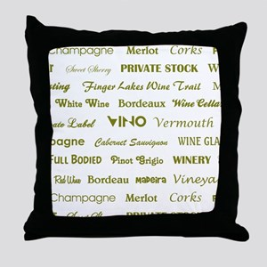WINE WORDS Throw Pillow