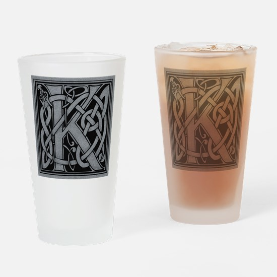Celtic Monogram K Drinking Glass