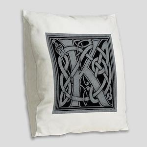 Celtic Monogram K Burlap Throw Pillow