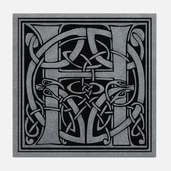 Celtic Monogram H Tile Coaster