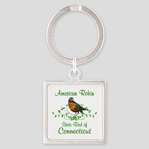 Robin Connecticut Bird Square Keychain