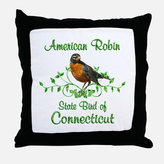 Robin Connecticut Bird Throw Pillow