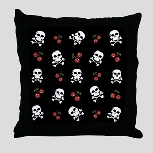 Skulls and Cherries Throw Pillow