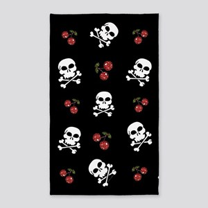 Skulls and Cherries 3'x5' Area Rug