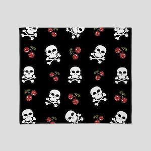 Skulls and Cherries Throw Blanket