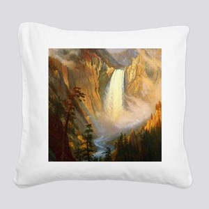 Yellowstone Falls Square Canvas Pillow
