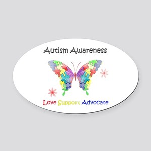 Autism Awareness Butterfly Oval Car Magnet