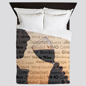 WINE TYPOGRAPHY Queen Duvet