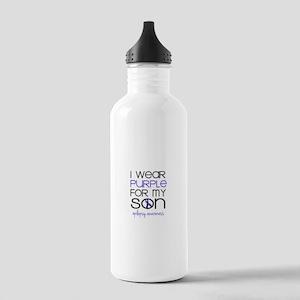 I Wear Purple for My Son Water Bottle
