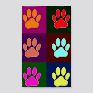 Colorful Dog Paws And Squares Area Rug