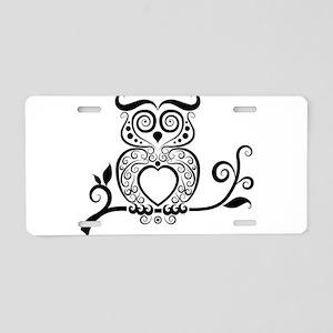Black Script Owl Aluminum License Plate