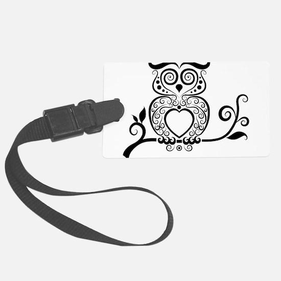 Black Script Owl Luggage Tag